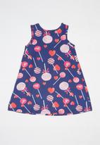 Bee Loop - Single printed jersey dress - navy