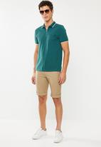 New Look - Paul tipped zip polo - turquoise