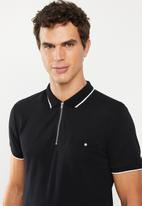 New Look - Paul tipped zip polo - black