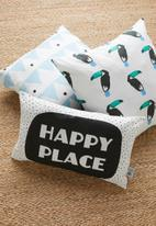 Sixth Floor - Happy cushion cover - black & white