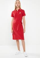 POLO - Sam tie belt golfer dress - red