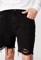 Factorie - Ripped rigid denim short - black