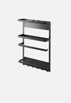 Yamazaki - Tower magnetic refrigerator side rack - black
