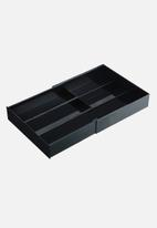 Yamazaki - Tower extendable cutlery tray with slide - black