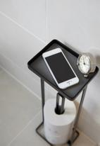Yamazaki - Tower toilet paper stand with tray - black