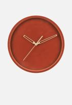 Present Time - Lush velvet wall clock - clay brown