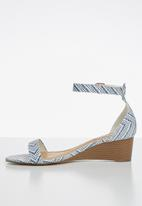 Madison® - Iliana woven ankle strap low wedge - blue & white
