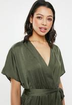 Glamorous - Wrap front v-neck jumpsuit - khaki