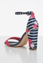 Madison® - Danica floral stripe ankle strap heel - pink