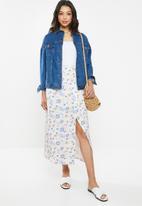 Glamorous - Wrap skirt - cream & blue