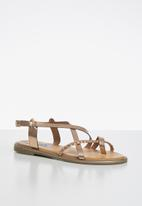 Madison® - Metallic braided strappy sandal - gold