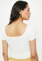 Glamorous - Button front rib crop - cream