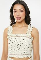 Glamorous - Frill strappy co- ord top - cream