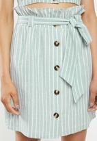 Glamorous - Button through co ord skirt - green & white