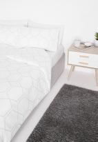 Sixth Floor - Lattice printed polycotton duvet set - white/grey