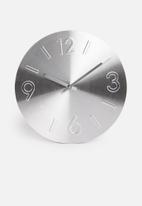 Sixth Floor - Embossed aluminium wall clock - silver