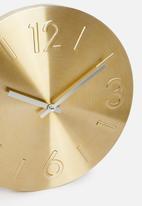 Sixth Floor - Embossed aluminium wall clock - gold