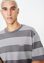 Factorie - Embroidered stripe T-shirt - grey & white