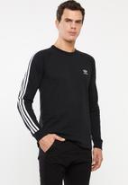 adidas Originals - 3 Stripes long sleeve crew tee - black