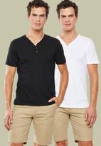 Superbalist - Plain short sleeve 2 pack henley tees - black & white
