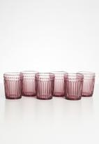 Sixth Floor - Rose water glass set of 6 - pink