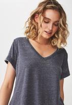Cotton On - Karly short sleeve V-neck top  - blue
