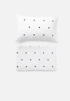 Sheraton Textiles - Doofy dab embroidered duvet cover set - black & white