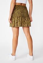 Cotton On - Venus shirred mini skirt - green & black