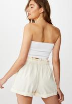 Cotton On - Riley high waist short - cream