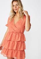 Cotton On - Woven sara short sleeve ruffle mini dress  - orange & white