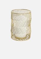 Sixth Floor - Zigzag pillar candle lantern - gold