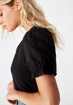 Cotton On - Lenny puff short sleeve top - black