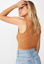 Cotton On - Harlow hook and eye tank  - rust