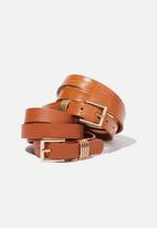Rubi - 2 Pack square buckle belt - tan