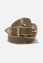 Rubi - Western skinny studded belt - khaki & gold