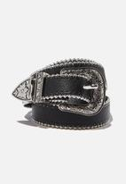 Rubi - Western skinny studded belt - black & silver