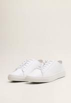 MANGO - Leather casual sneakers - white