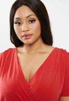 edit Plus - Wrap midi dress - red