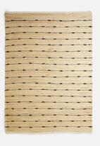 Sixth Floor - Line dot jute woven rug - beige & black