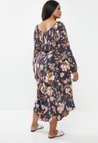 edit Plus - Dipped hem midi dress - multi
