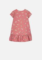 Cotton On - Joss short sleeve dress - pink & gold