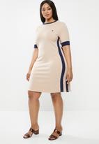 POLO - Plus size - hazel colour blocked dress - navy & beige