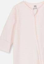 Cotton On - The long sleeve zip romper - pink & white