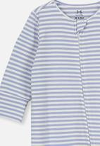 Cotton On - The long sleeve zip romper - blue & white