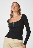 Factorie - Long sleeve scoop neck henley - black