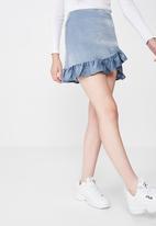 Factorie - Satin ruffle skirt - blue