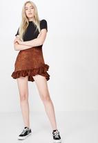 Factorie - Satin ruffle skirt - brown & black