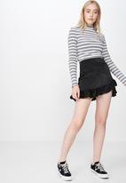 Factorie - Satin ruffle skirt - black