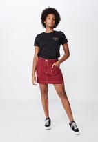 Factorie - Patch pocket denim skirt - red
