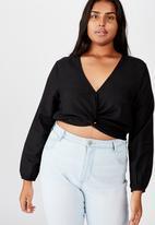 Cotton On - Curve twist front blouse  - black